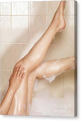 Woman Taking A Bath Canvas Print by Oleksiy Maksymenko