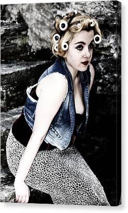 Woman With Curlers Canvas Print by Joana Kruse