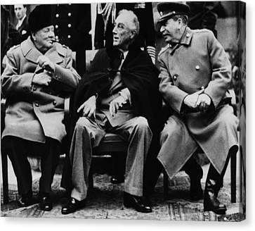 World War II.  From Left British Prime Canvas Print by Everett