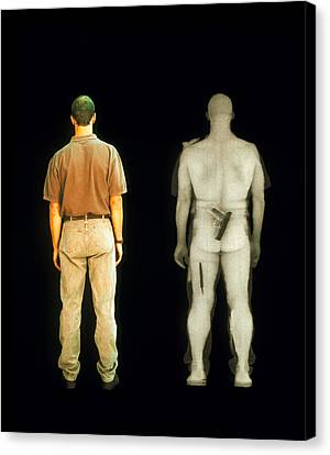 X-ray View Of Man During Bodysearch Surveillance Canvas Print by American Science & Engineering