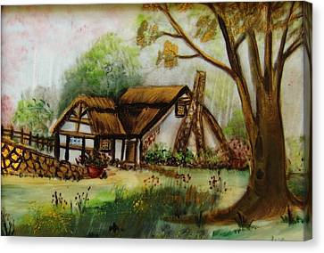 1128b Cottage Painted On Top Of Gold Canvas Print by Wilma Manhardt