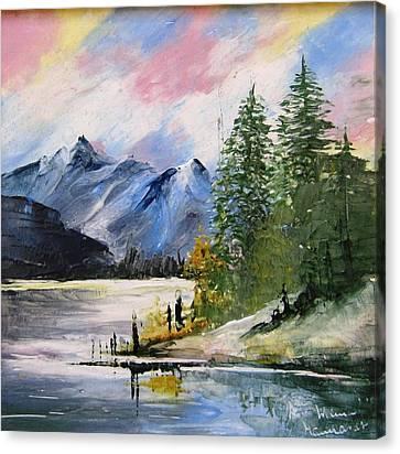 1131b Mountain Lake Scene Canvas Print by Wilma Manhardt