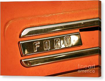 Rusted Antique Ford Car Brand Ornament Canvas Print by ELITE IMAGE photography By Chad McDermott