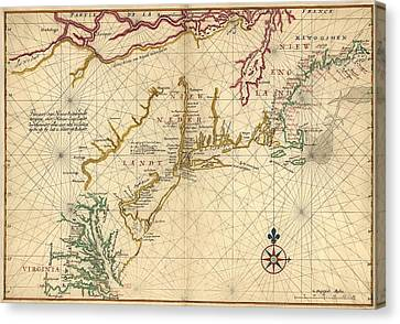 1639 Maps Of British Colonies In North Canvas Print by Everett