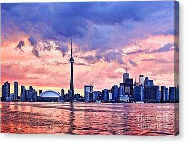Toronto Sunset Skyline Canvas Print by Elena Elisseeva