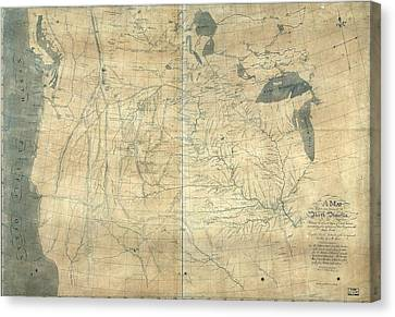 1805 Lewis And Clark Map Of Part Canvas Print by Everett