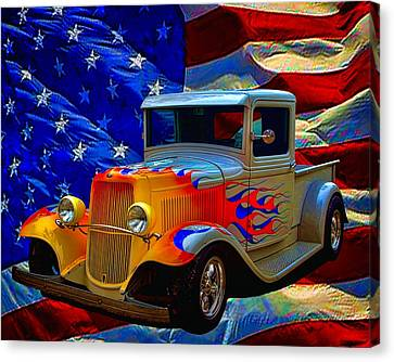 1931 Ford Flaming Custom Pickup Truck Canvas Print by Tim McCullough