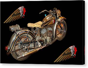 1940 Indian Scout Police Unit Version 3 Canvas Print by Ken Smith