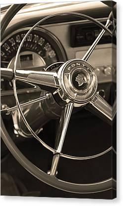 1953 Pontiac Steering Wheel - Sepia Canvas Print by Jill Reger