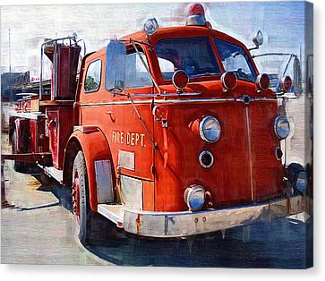 1954 American Lafrance Classic Fire Engine Truck Canvas Print by Kathy Clark