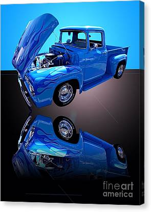 1956 Ford Blue Pick-up Canvas Print by Jim Carrell