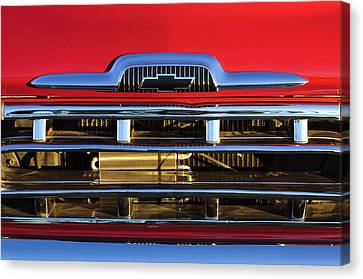 1957 Chevrolet Pickup Truck Grille Emblem Canvas Print by Jill Reger