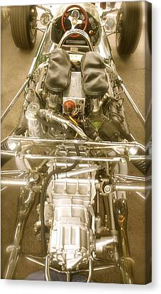 1967 Graham Hill Lotus Cosworth 49 Engine And Chassis Canvas Print by John Colley