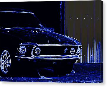 1969 Mustang In Neon Canvas Print by Susan Bordelon