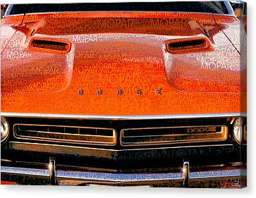1971 Dodge Challenger - Orange Mopar Typography - Mp002 Canvas Print by Gordon Dean II
