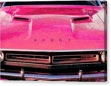 1971 Dodge Challenger - Pink Mopar Typography Canvas Print by Gordon Dean II