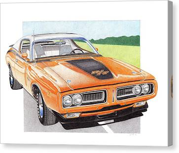 1971 Dodge Charger Rt Canvas Print by James Robert