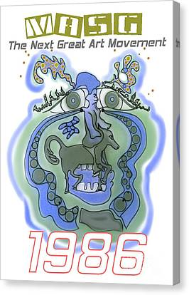 1986 Collectors Edition Poster Featuring Upside Down Art By Masg Artist L R Emerson II Canvas Print by L R Emerson II