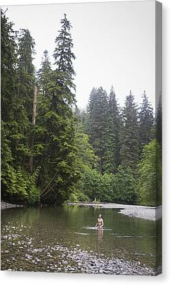 A Man Wades In A River In A Temperate Canvas Print by Taylor S. Kennedy
