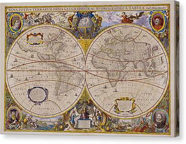 Antique Map Of The World Canvas Print by Comstock