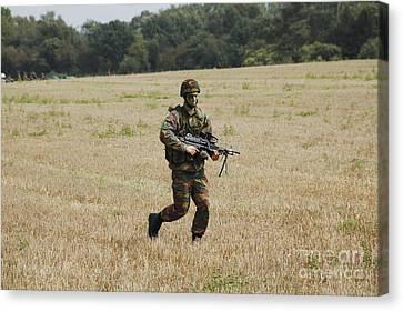 Belgian Paratroopers Proceeding Canvas Print by Luc De Jaeger