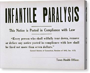 Early 20th Century Quarantine Sign Canvas Print by Everett
