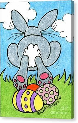 Easter Bunny Retreat Canvas Print by Linda Battles