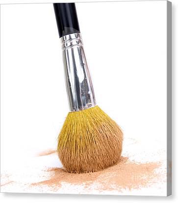 Face Powder And Make-up Brush Canvas Print by Bernard Jaubert