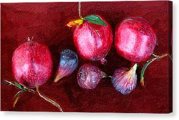 Figs And Pomegranates Canvas Print by Ron Regalado