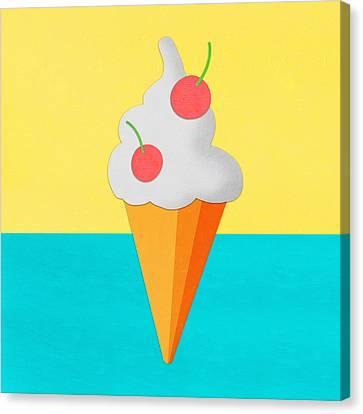 Ice Cream On Hand Made Paper Canvas Print by Setsiri Silapasuwanchai