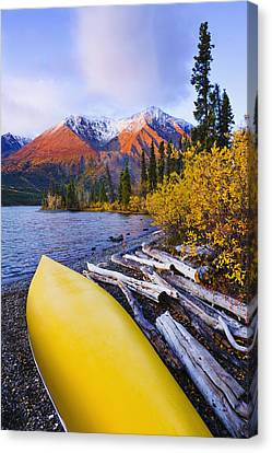 Kathleen Lake And Mountains, Kluane Canvas Print by Yves Marcoux