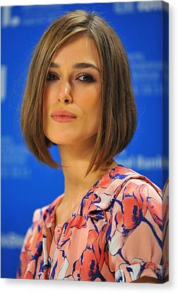 Keira Knightley At The Press Conference Canvas Print by Everett