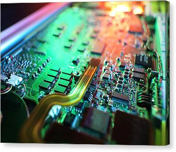 Laptop Circuit Board Canvas Print by Tek Image