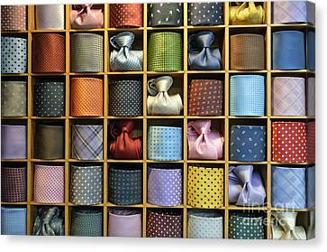 Neckties Displayed In Store Canvas Print by Sami Sarkis