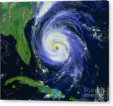 Noaa Satellite Image Of Hurricane Fran Canvas Print by NASA / Science Source