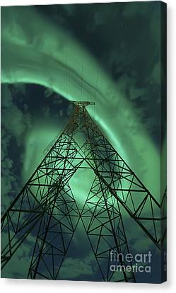 Powerlines And Aurora Borealis Canvas Print by Arild Heitmann