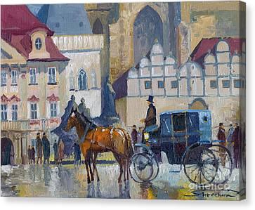 Prague Old Town Square 01 Canvas Print by Yuriy  Shevchuk
