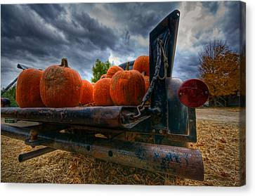 Pumpkins In The Back Canvas Print by Mike Horvath