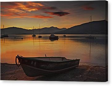 romantic evening at the Lake Maggiore Canvas Print by Joana Kruse