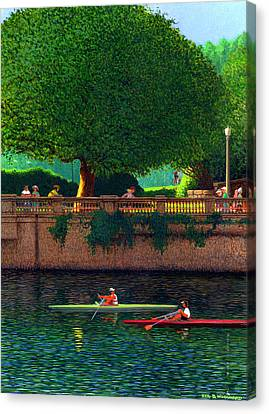 Scullers At Coal Harbour Canvas Print by Neil Woodward