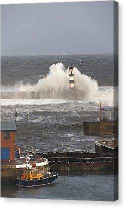 Seaham, Teesside, England Waves Canvas Print by John Short