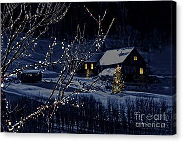 Snowy Winter Scene Of A Cabin In Distance  Canvas Print by Sandra Cunningham