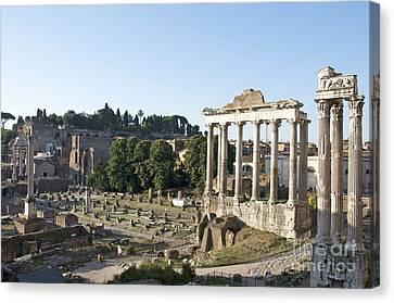 Temple Of Saturn In The Forum Romanum. Rome Canvas Print by Bernard Jaubert