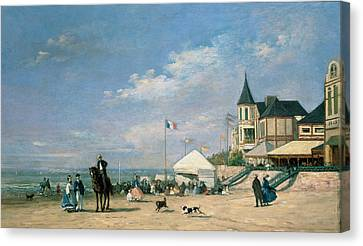 The Beach At Trouville Canvas Print by Eugene Louis Boudin