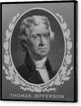 Thomas Jefferson In Black And White Canvas Print by Rob Hans