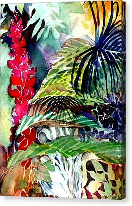Tropical Waterfall Canvas Print by Mindy Newman