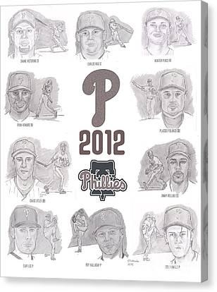 2012 Phightin' Phils Canvas Print by Chris  DelVecchio