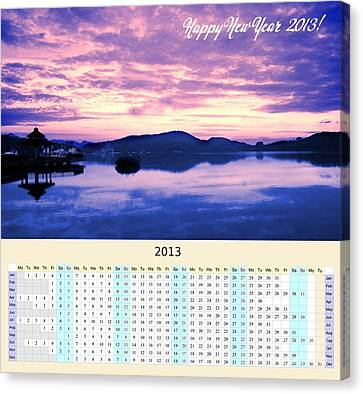2013 Wall Calendar With Sun Moon Lake Sunrise Canvas Print by Yali Shi