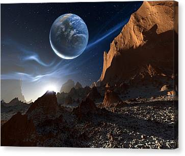 Alien Landscape, Artwork Canvas Print by Detlev Van Ravenswaay