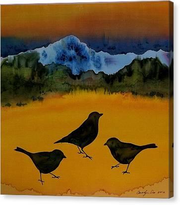 3 Blackbirds Canvas Print by Carolyn Doe